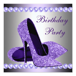 Purple High Heels Shoes Birthday Party Card