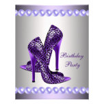 Purple High Heels Shoes Birthday Party Announcements