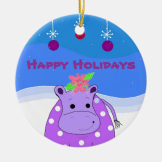 Purple Hippo and Christmas Ornaments