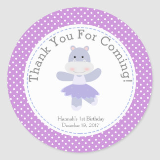 Purple Hippo Ballerina Birthday Party Thank You Classic Round Sticker