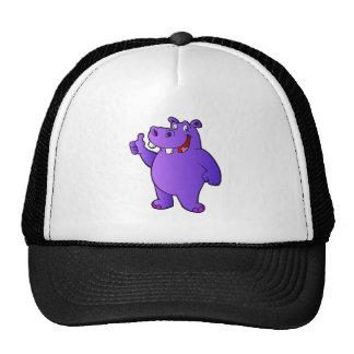 purple hippo cartoon cap