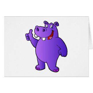 purple hippo cartoon card