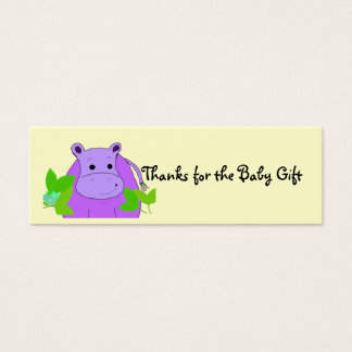 Purple Hippo Thanks for the Baby Gift Mini Business Card