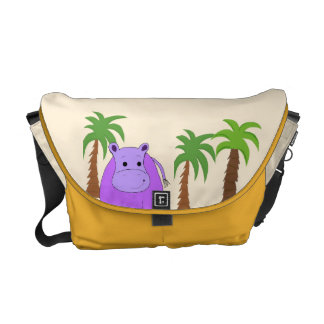 Purple Hippo with Palm Trees Messenger Bags