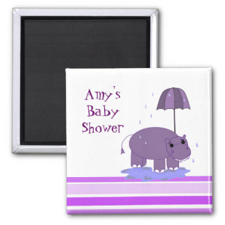 Purple Hippopotamus Baby Shower Magnet