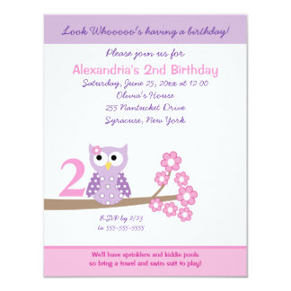 Purple Hoot Owl Girl Birthday Invite 4.25 x 5.5