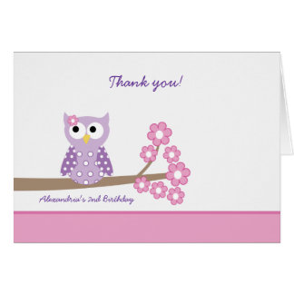 Purple Hoot Owl Girl Birthday Thank you Card Pink