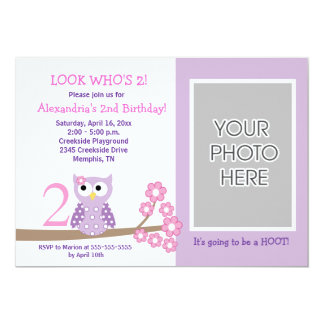Purple Hoot Owl *PHOTO* Birthday 5x7 Card