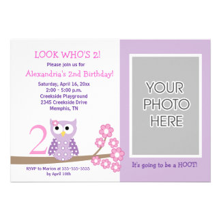 Purple Hoot Owl PHOTO Birthday 5x7 Invite