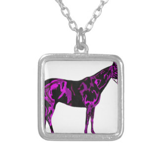 Purple Horse Art Silver Plated Necklace