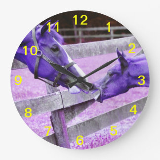 Purple horses saying hello Wall Clock