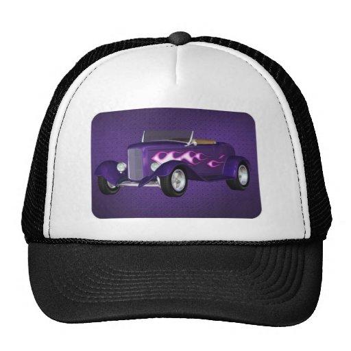 purple hot rod trucker hat
