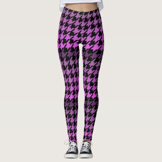 Purple houndstooth checkered pattern leggings