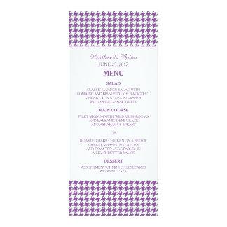 Purple Houndstooth Wedding Menu 4x9.25 Paper Invitation Card