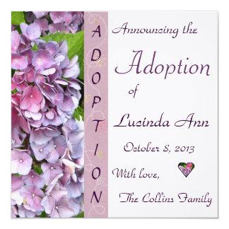 """Purple Hydrangea Adoption Announcement 5.25"""" Square Invitation Card"""