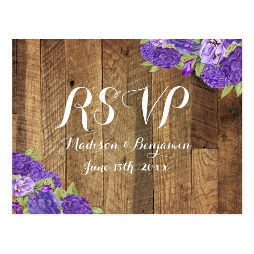 Purple Hydrangea Barn Wood Wedding RSVP Postcard2 Post Card