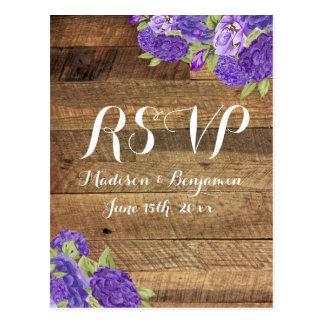 Purple Hydrangea Barn Wood Wedding RSVP Postcards