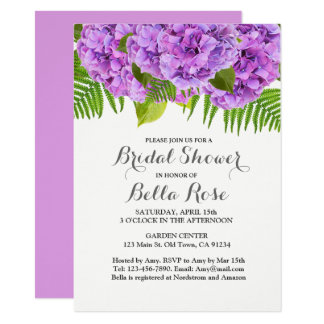 Purple hydrangea bridal shower invitation