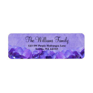 Purple Hydrangea Custom Address Label