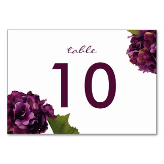 Purple Hydrangea - floral table number card
