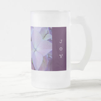 Purple Hydrangea Flower Glass Mug LOVE JOY