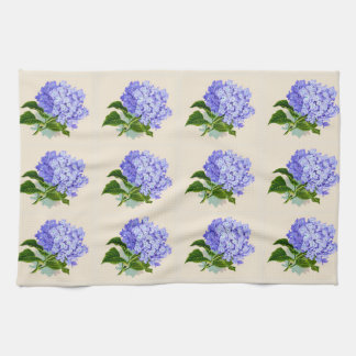 Purple Hydrangea Flowers Vintage Pattern Hand Towel