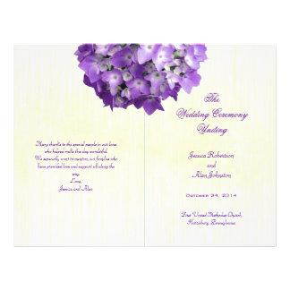 Purple Hydrangea Folded Wedding Program Template 21.5 Cm X 28 Cm Flyer