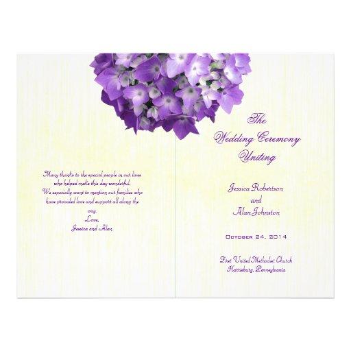 Purple Hydrangea Folded Wedding Program Template Flyer Design