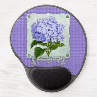 Purple Hydrangea Green Paper Ribbon Square Cutouts Gel Mouse Pad