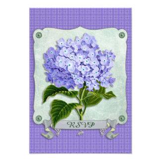 Purple Hydrangea Green Paper Ribbon Square Cutouts Custom Invitations