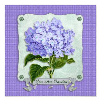 Purple Hydrangea Green Paper Ribbon Square Cutouts Invitations