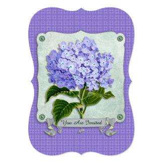 Purple Hydrangea Green Paper Ribbon Square Cutouts Personalized Invite