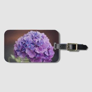 Purple Hydrangea in Mason Jar Photograph Luggage Tag