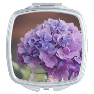 Purple Hydrangea in Mason Jar Photograph Mirror For Makeup