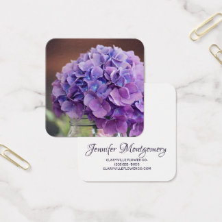Purple Hydrangea in Mason Jar Photograph Square Business Card