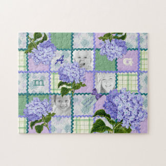 Purple Hydrangea Instagram Photo Quilt Collage Jigsaw Puzzle