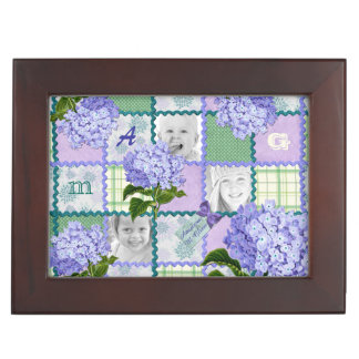 Purple Hydrangea Instagram Photo Quilt Collage Keepsake Box
