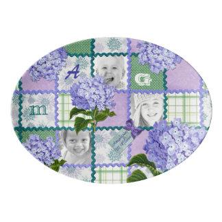 Purple Hydrangea Instagram Photo Quilt Collage Porcelain Serving Platter
