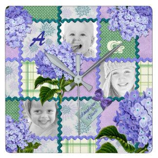 Purple Hydrangea Instagram Photo Quilt Collage Square Wall Clock