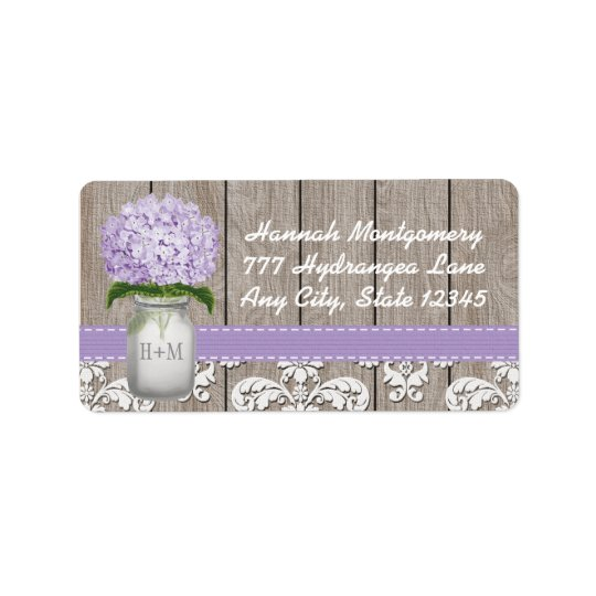 Purple Hydrangea Monogrammed Mason Jar Address Label