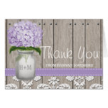 PURPLE Hydrangea Monogrammed Mason Jar THANK YOU Note Card