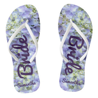 Purple Hydrangea Personalized Bride Thongs