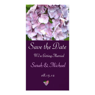 Purple Hydrangea Wedding Announcement Card Photo Card