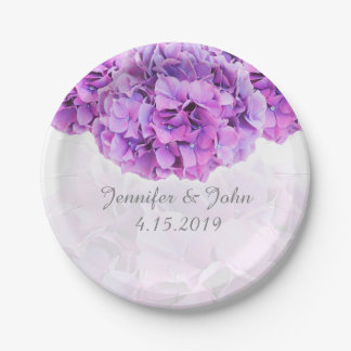 Purple Hydrangea Wedding Collection Paper Plate