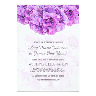 Purple hydrangea wedding invitations hydrangea4