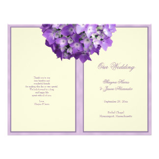 Purple Hydrangea Wedding Program Off White Flyer
