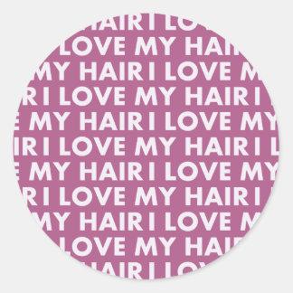 Purple I Love My Hair Bold Text Cutout Classic Round Sticker