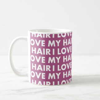 Purple I Love My Hair Bold Text Cutout Coffee Mug