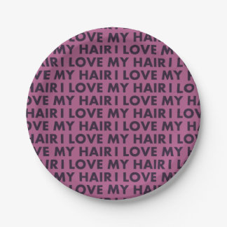 Purple I Love My Hair Text Cutout Paper Plate