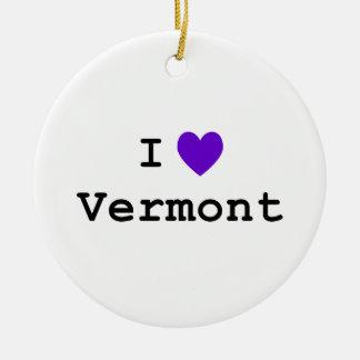 Purple I Love Vermont Ceramic Ornament